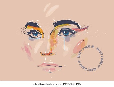 Make-up illustration. Woman face with make up on the beige background