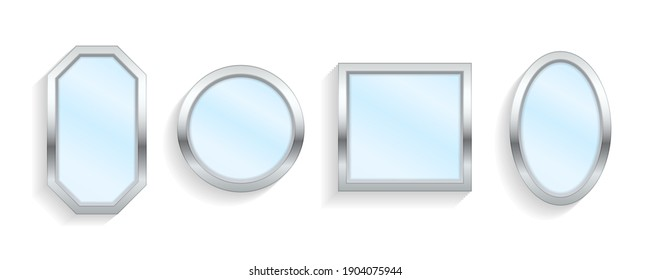 Makeup or interior furniture reflecting glass surfaces 3D icons. Reflective mirror surface in silver frame, mirroring glass decor interior. Realistic empty mirrors with reflect in mockup style. Vector