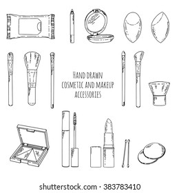 makeup kit in doodle style  hand drawn cosmetics and accessories  linear  style  makeup