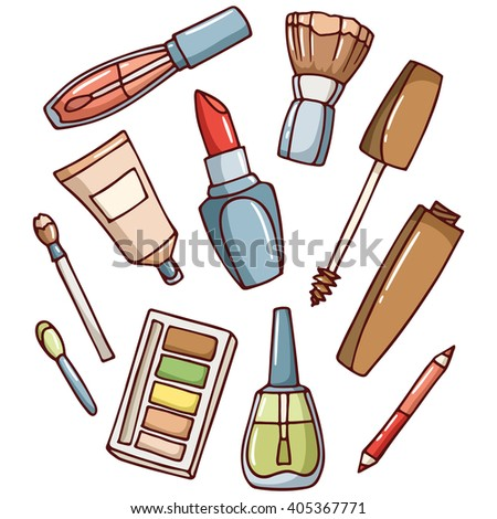 Makeup kit: mascara, nail polish, foundation, lipstick, brush, cosmetic pencil, eye shadow. Set of simple color doodle cosmetic products. - Vector