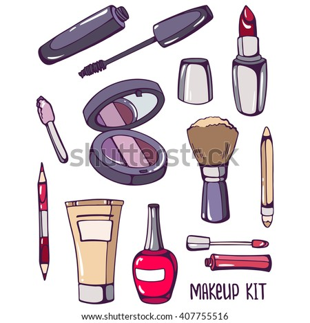 Makeup kit: mascara, nail polish, foundation, mirror, lipstick, brush, cosmetic pencil, eye shadow. Set of color images of cosmetics and beauty products on ...