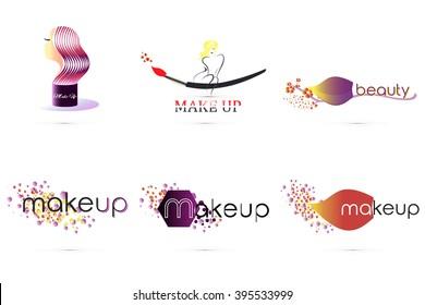 Makeup logo. Decorative cosmetic, makeup, beauty salon, cosmetic and spa, stylist. Set logo. Vector illustration. Editable.