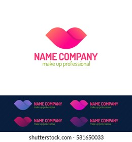 Makeup logo set consisting of lips different color on isolated on background for make up professional, business company etc. Vector Illustration
