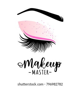 Makeup master logo. Vector illustration of lashes and brow. For beauty salon, lash extensions maker, brow master.