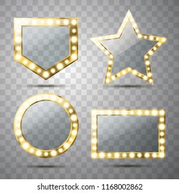 Makeup mirror isolated with gold lights. Vector different golden frames with light bulbs illustration