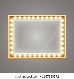 Makeup mirror isolated with gold lights. Vector artist dressing room. Make-up mirror