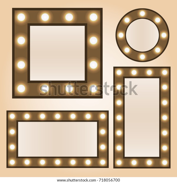 Makeup Mirror Light Bulbs Vintage Mirror Stock Vector