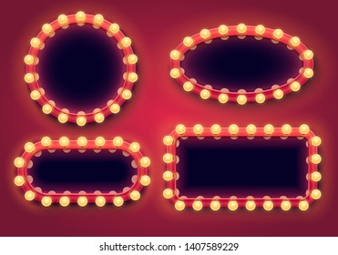 Makeup mirror set. Lights frame, beautiful lighting and mirrors frames bulbs isolated 3D vector illustration