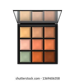 Make-up palette container isolated on white background, realistic illustration. Open compact makeup cosmetic case with mirror, vector template.