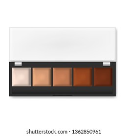 Make-up palette isolated on white background, realistic illustration. Makeup concealer, cream eyeshadow or lipstick, vector template.
