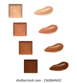 Make-up palette with smear samples isolated on white background, realistic illustration. Makeup concealer, cream eyeshadow or lipstick, vector template.