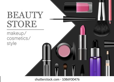 Makeup products banner. Advertising template with text for beauty events or store. Eyeshadow case, lipstick tube, eyeliner bottle, brush, perfume atomizer isolated on black and white background.