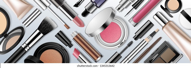 Makeup products realistic 3d vector illustration. Face cosmetic flat lay collection isolated on light background. Advertising mock up beauty banner template. Make-up store, beauty blog promotion.