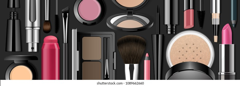 Makeup produkts realistik 3d vector illustration. Face cosmetic flat lay collection isolated on black background. Advertising mock up beauty banner template.