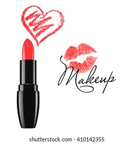 Makeup red lipstick and doodle heart isolated over white background. Cosmetic product design vector illustration