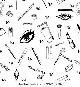 Makeup seamless pattern. Eps 8.
