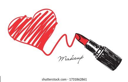 Makeup set. Lipstick hand drawn illustration. Grunge heart.