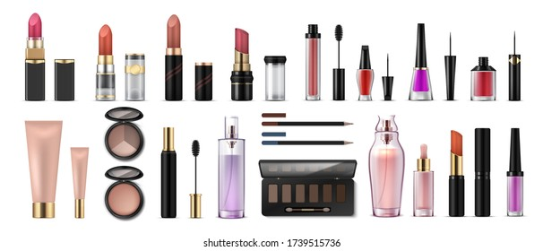 Makeup set. Realistic cosmetic products, glossy lipsticks, pencils, shadows, highlighters and artist tools. Vector 3D professional cosmetics object set, beauty collection face fashion