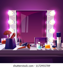 Makeup square mirror with lamps bulb, cartoon vector illustration modern silver frame with realistic light illumination for actor and beauty fashion studio. Dressing table with accessories for make-up
