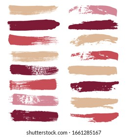 Makeup strokes, Set of lipstick swatches, Beauty and cosmetic nude, pink and red brush smudges vector background. smear make up lines collection, liquid make up texture isolated on white. paint lines.