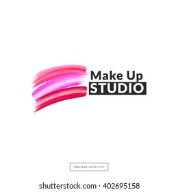 Makeup studio  logo design template. Vector logotype layout