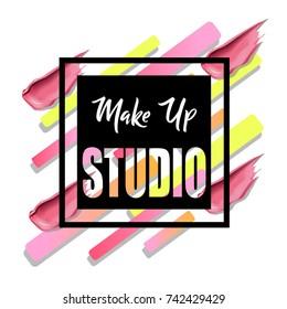 Makeup studio logo design template.