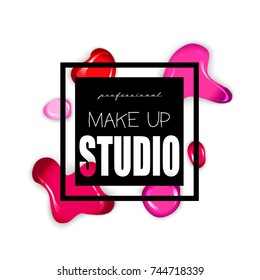 Makeup studio logo design template.