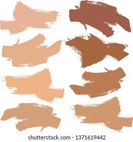 Makeup swatch, Makeup strokes, Beauty and cosmetic nude brush, Stains, Vector, Background, Smear make up lines collection, Set of concealer swatches, Texture, Isolated on white, Smudge texture.