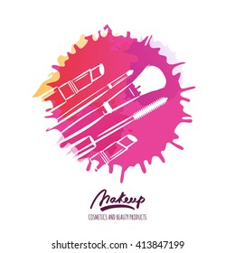 Makeup tools on watercolor splash background. Vector beauty logo or label design. Hand drawn illustration of makeup brush, mascara and lipstick. Concept for beauty salon, cosmetics, visage, makeup.