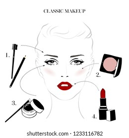 Makeup tutorial, classic makeup beautiful female woman face with cosmetics sketch set. Hand drawn vector illustration. Stylish original portrait with attractive girl model. Fashion, style, beauty
