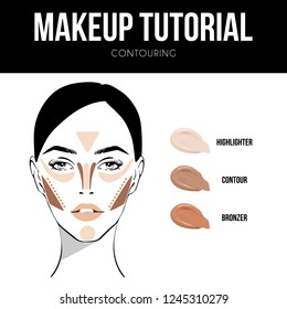 Makeup tutorial Contouring. Contour and highlight, bronze and contour makeup. Makeup woman face chart on white background. Professional face make-up sample.
