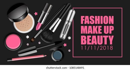 メイクアップベクター画像バナー。美容イベントや商品用のテキスト付き広告テンプレート。暗い背景にゆるいパウダー、ブラッシュ、アイシャドウケース、口紅管、マスカラブラシ、香水噴霧器。