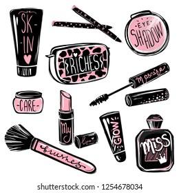 Makeup vector set. Mascara, lipstick, eye shadows, brush, foundation, perfume. Cosmetics beauty elements. Stickers for girls. Beautiful fashion illustration isolated on white background.
