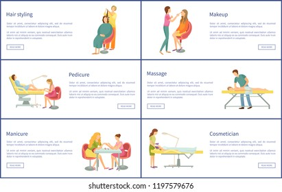 Makeup and visage hairstyle, hair styling posters set with text sample vector, massage of client, manicure and pedicure, nails treatment and care