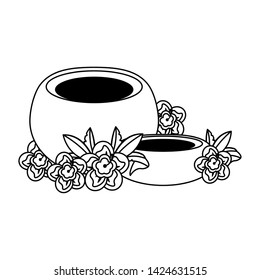 makgeolli korean beverage with mugunghwa icon cartoon vector illustration graphic design