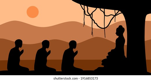Makha Bucha Day concept vector illustration. Buddha sitting under Bodhi tree and teaching the monks in flat design.