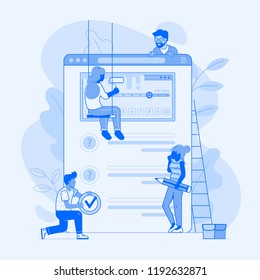Making client survey concept in flat design. Team of people creating test application form or questionnaire for marketing research. Teamwork over user experience exploration UI illustration.