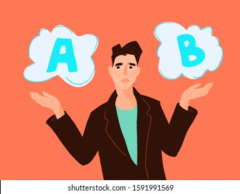 making decision concept symbol with two option a and b with hand choose one of it. Choice way concept. Decision business metaphor. showing gesture with palms, choosing options. Businessman choosing