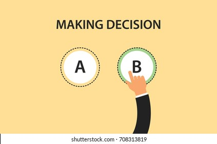 making decision concept symbol with two option a and b with hand choose one of it