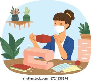 Making DIY face masks from fabric. Woman sewing cloth masks at home.