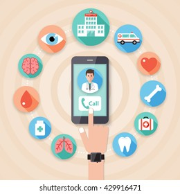 Making an emergency call to the hospital on smart phone with doctor, nurse and medical flat design people character and icon set.