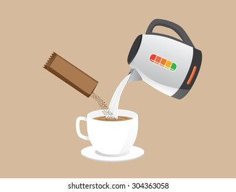 Making instant coffee with pour hot water and coffee powder in a cup at the same time.