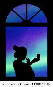 Making makeup near window at night. Vector illustration with silhouette of girl with mirror. Northern lights in starry sky. Colorful aurora borealis