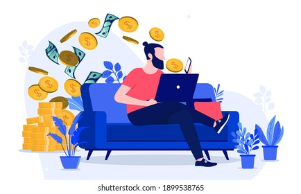 Making money from home - Man working online to earn cash, sitting on sofa with smartphone and laptop. Vector illustration.
