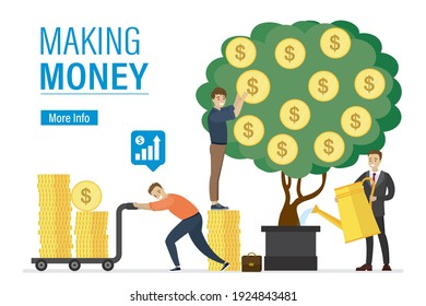 Making money, landing page template. Businessmen watering money tree and take profit. Entrepreneur push cart with golden coins. Investors are developing new profitable project. Vector illustration