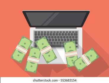Making money online. flat style with long shadow