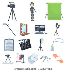 Making a movie cartoon icons in set collection for design. Attributes and Equipment vector symbol stock web illustration.