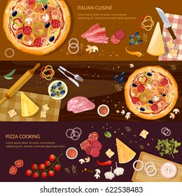 Making pizza, fresh ingredients for pizza vector. Pizza on wooden table top view banner