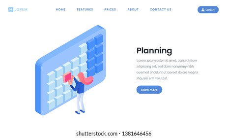 Making timetable landing page isometric template. Digital time management website design layout with text space, copyspace. Personalized time planning assistance in user profile, account