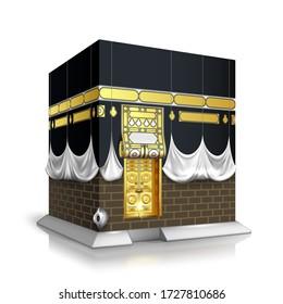Makkah Kaaba Hajj Muslims Islamic Mecca Vector. Kaaba Construction For Celebrate Eid Adha Mubarak And Ramadan. Mosque Religion Praying Place, Building Exterior Template Realistic 3d Illustration